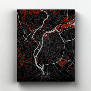 Mapospheres Lyon Red dark full page design canvas city map