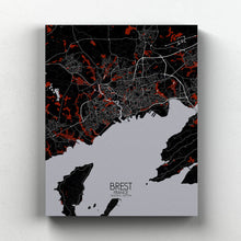 Load image into Gallery viewer, Mapospheres Brest Red dark full page design canvas city map
