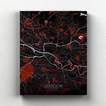 Load image into Gallery viewer, Mapospheres Glasgow Red dark full page design canvas city map
