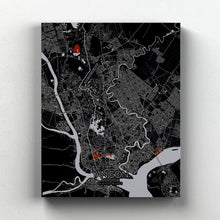 Load image into Gallery viewer, Mapospheres yangon Red Dark full page design canvas city map