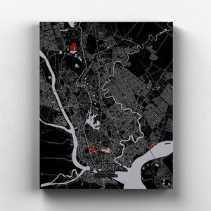 Mapospheres yangon Red Dark full page design canvas city map