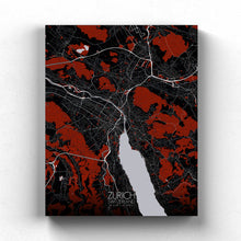 Load image into Gallery viewer, Mapospheres zurich Red Dark full page design canvas city map