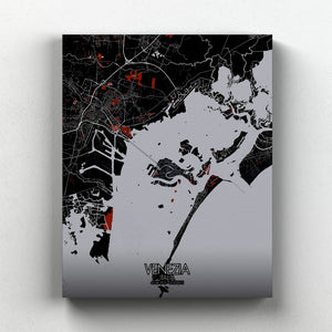 Mapospheres Venice Red dark full page design canvas city map