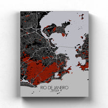 Load image into Gallery viewer, Mapospheres Rio de Janeiro Red dark full page design canvas city map