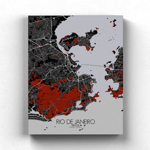 Mapospheres Rio de Janeiro Red dark full page design canvas city map