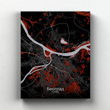 Load image into Gallery viewer, Mapospheres Belgrade Red dark full page design canvas city map