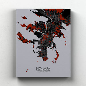 Mapospheres Noumea Red dark full page design canvas city map