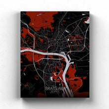 Load image into Gallery viewer, Mapospheres Bratislava Red dark full page design canvas city map