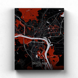 Mapospheres Bratislava Red dark full page design canvas city map