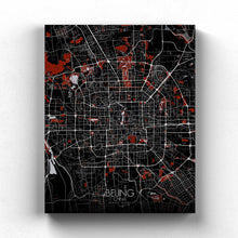 Load image into Gallery viewer, Mapospheres Beijing Red dark full page design canvas city map