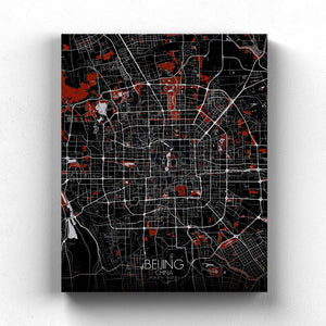 Mapospheres Beijing Red dark full page design canvas city map