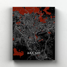 Load image into Gallery viewer, Mapospheres Addis Ababa Red dark full page design canvas city map