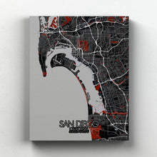 Load image into Gallery viewer, Mapospheres San Diego Red dark full page design canvas city map