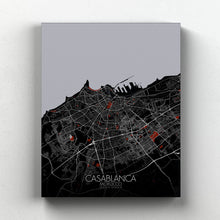 Load image into Gallery viewer, Mapospheres Casablanca Red dark full page design canvas city map