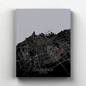 Mapospheres Casablanca Red dark full page design canvas city map