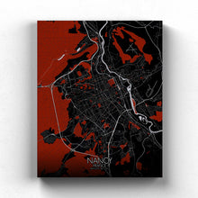 Load image into Gallery viewer, Mapospheres Nancy Red dark full page design canvas city map
