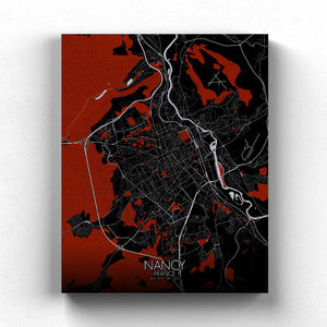 Mapospheres Nancy Red dark full page design canvas city map