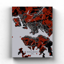 Load image into Gallery viewer, Mapospheres Hong Kong Red dark full page design canvas city map
