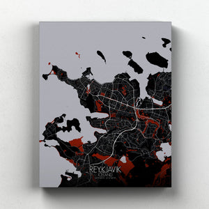 Mapospheres reykjavik Red Dark full page design canvas city map