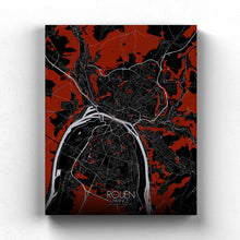 Load image into Gallery viewer, Mapospheres Rouen Red dark full page design canvas city map