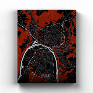 Mapospheres Rouen Red dark full page design canvas city map