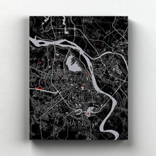 Load image into Gallery viewer, Mapospheres Hanoi Red dark full page design canvas city map