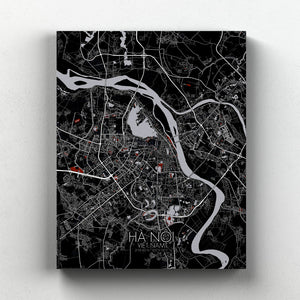 Mapospheres Hanoi Red dark full page design canvas city map
