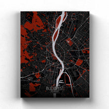 Load image into Gallery viewer, Mapospheres budapest Red Dark full page design canvas city map