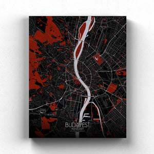 Mapospheres budapest Red Dark full page design canvas city map