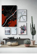 Load image into Gallery viewer, Blois Red dark full page design poster city map