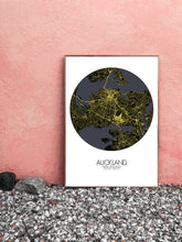 Load image into Gallery viewer, Auckland Night round shape design poster city map