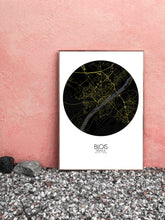 Load image into Gallery viewer, Blois Night round shape design poster city map