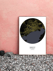 Mapospheres Brest Night round shape design poster city map