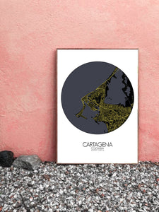 Cartagena Night round shape design poster city map
