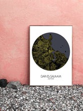 Load image into Gallery viewer, Mapospheres Dar Es Salaam Black and White round shape design poster city map
