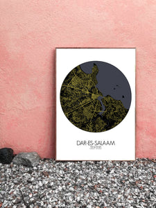 Mapospheres Dar Es Salaam Black and White round shape design poster city map
