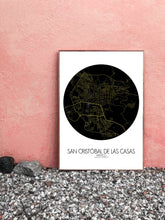 Load image into Gallery viewer, Mapospheres San Cristobal Black and White dark full page design poster city map