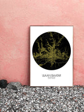 Load image into Gallery viewer, Ulaan Baatar Night round shape design poster city map