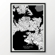 Load image into Gallery viewer, Auckland Black and White dark full page design poster city map