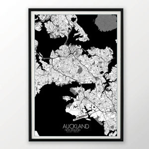 Auckland Black and White dark full page design poster city map