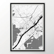 Load image into Gallery viewer, Blois Black and White dark full page design poster city map