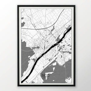 Blois Black and White dark full page design poster city map