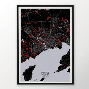 Mapospheres Brest Red dark full page design poster city map
