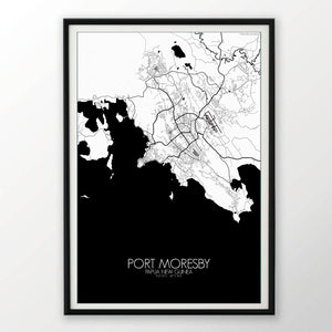 Mapospheres Port Moresby Red dark full page design poster city map
