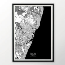 Load image into Gallery viewer, Mapospheres Recife Red dark full page design poster city map