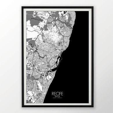 Mapospheres Recife Red dark full page design poster city map
