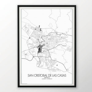 Mapospheres San Cristobal Black and White round shape design poster city map