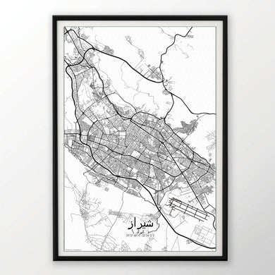 Mapospheres Shiraz Red dark full page design poster city map