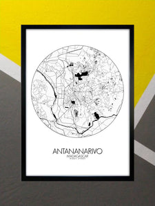 Mapospheres Antananarivo Black and White round shape design poster city map