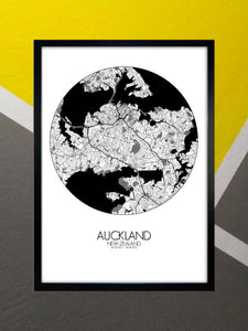 Auckland Black and White round shape design poster city map